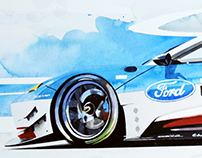 Ford GT in Watercolor
