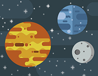 Simple Planets Illustration with Photoshop
