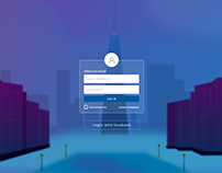 Web Login UI - City Night (Hand Made BG in XD)