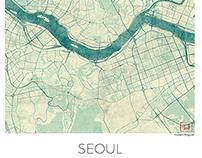 Seoul, Korea. Blue vintage watercolor map poster