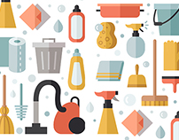Cleaning flat vector multicolored illustrations