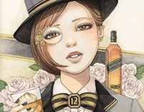 Whisky woman illustrations