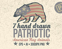 7 Hand Drawn Patriotic Animals