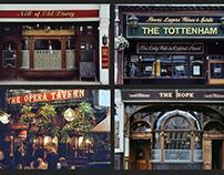 London pubs. Circa 1980's