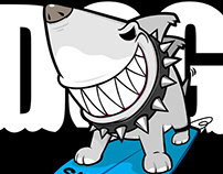 Shark dog surf hawaii character design