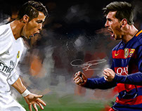 Cristiano Ronaldo Vs Lio Messi, Digital Painting