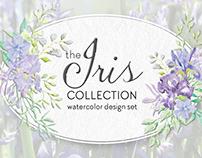 The Iris collection: watercolor design set