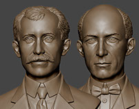 The Wright brothers portrait busts. Digital sculpting