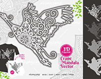 Crane Mandala Vector SVG 3D Layered