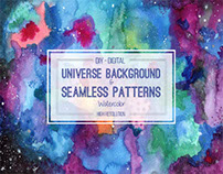 Watercolor Universe Background & Seamless Patterns