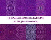 12 Purple Seamless Floral Mandala Patterns