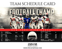 Football schedule card sports photography template