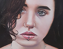 Portrit of B with lip studs 22x18 cms oil on cardboard