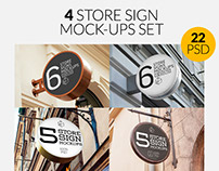 4 Store Sign Mock-Ups Set Bundle