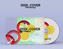 Disk and Cover Psd Mockup