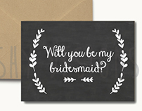 """Chalkboard Wedding Cards - """"Will you be my...?"""""""