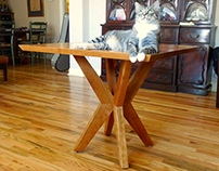 Cherry kitchen table with dynamic chevron base