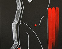 Sketches of the naked model. Black paper, acrylic
