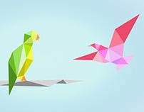 Geometric Birds Mural