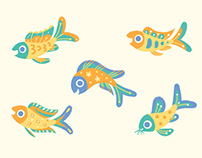 Pastel fish & space pattern
