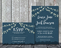 String Light Wedding Invitation + RSVP
