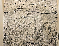 Underwater depiction done by using permanent marker