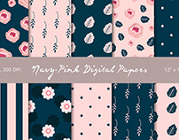 Navy - Pink Digital Papers