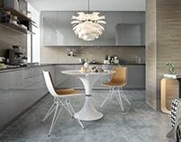 CG - Modern Kitchen In Light Gray Design