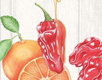 Hand-Drawn Mandarin Orange Habanero Honey Glaze Label