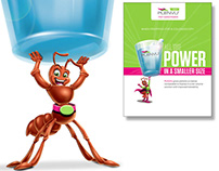 Plenvu Ant character design & pharma print ad illustrat