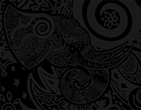 Black Elephant Doodle Art Black Wallpaper