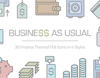Business As Usual / 30 finance themed flat icons