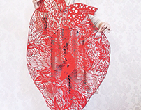 Anatomical paper cut heart