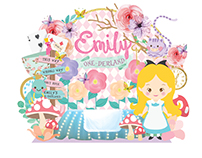 Alice in Wonderland birthday theme design