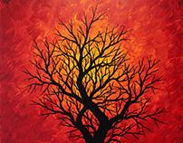 Tableau contemporain : Silhouette d'arbre chaleureux.