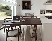 Eclectic white kitchen