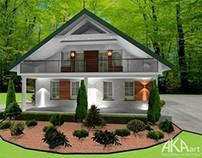 Elewacja domu z zielonym dachem | Exterior design