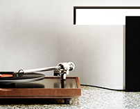 Vinyl player and Roll lamp 3D models