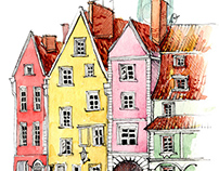 Colorful little city painted in watercolor