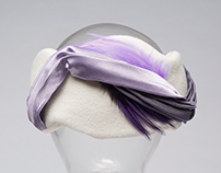 White Felt Cloche with Purple Embellishments