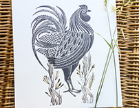 Cockerel Linocuts