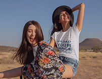 T-Shirt Mockup Featuring Two Very Happy Women