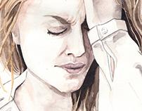 Facial expressions - Sad woman - watercolor