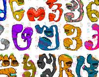 Georgian alphabet ,little monsters (Illustration)