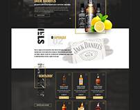 Промо страница для алкогольного напитка jack daniels