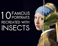Famous Portraits Recreated with Insects