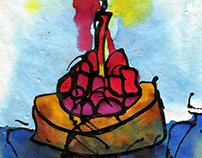 Tartaleta de fresas con vela encendida (v. Mar Ceb)