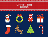 FREE Pixel Christmas Vector Icons