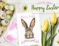 Watercolor Easter Bunny Rabbit Sale