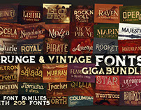 Grunge & Vintage Fonts Giga Bundle